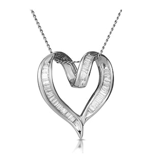 Heart Pendant Necklace 0.33ct Diamond 9K White Gold