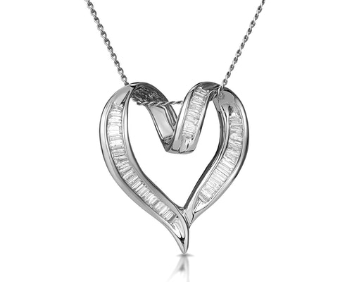 Baguette Diamond Pendants and Necklaces