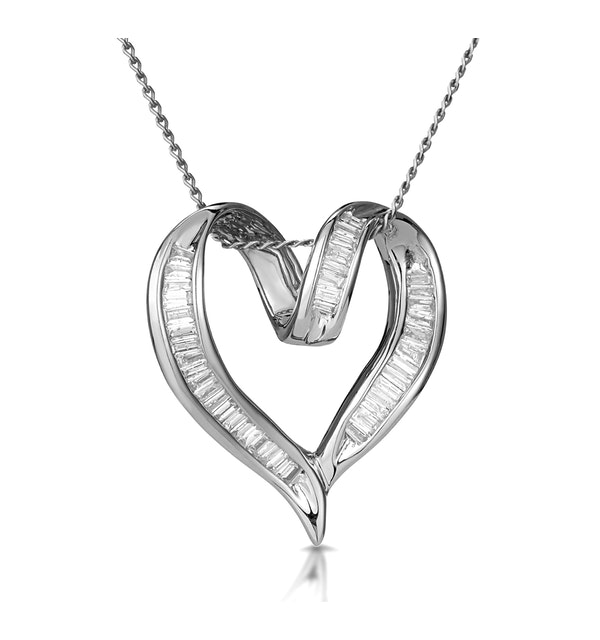 Heart Pendant Necklace 0.33ct Diamond 9K White Gold - image 1