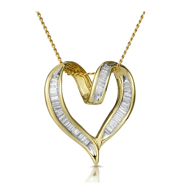 Heart Pendant Necklace 0.33ct Diamond 9K Yellow Gold - image 1