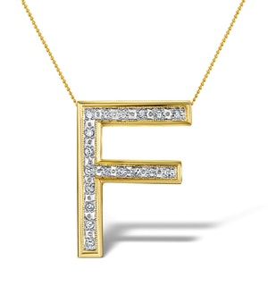 Diamond 0.12ct 9K Gold Initial Pendant - RTC-G3802