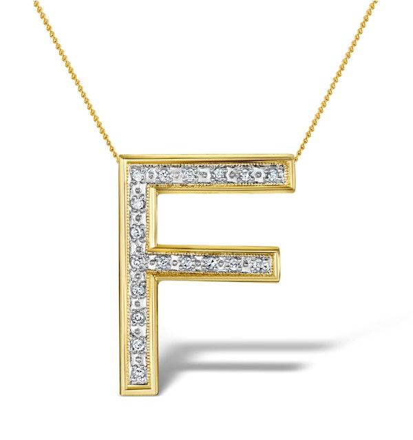 Diamond 0.12ct 9K Gold Initial Pendant - RTC-G3802 - image 1