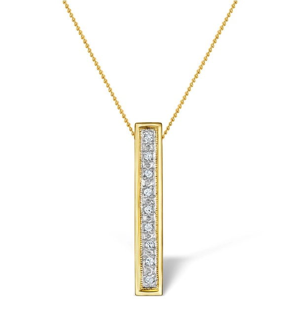 Diamond 0.06ct 9K Gold Initial Pendant - RTC-G3804 - image 1