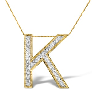 Diamond 0.06ct 9K Gold Initial Pendant - RTC-G3806
