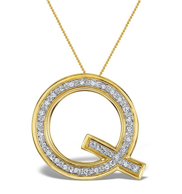 Diamond 0.20ct 9K Gold Initial Pendant - RTC-G3812 - image 1