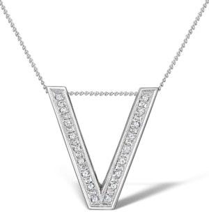 Diamond 0.12ct 9K White Gold Initial Pendant - RTC-G3819