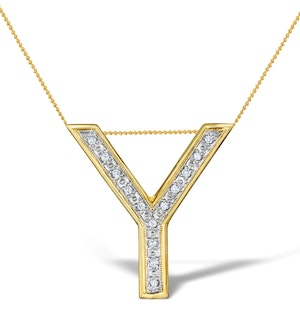 Diamond 0.10ct 9K Gold Initial Pendant - RTC-G3924
