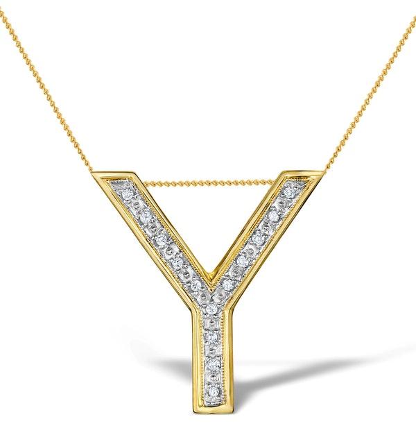 Diamond 0.10ct 9K Gold Initial Pendant - RTC-G3924 - image 1