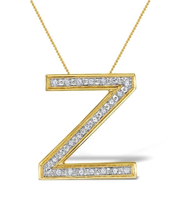Diamond 0.15ct 9K Gold Initial Pendant - RTC-G3926 - image 1