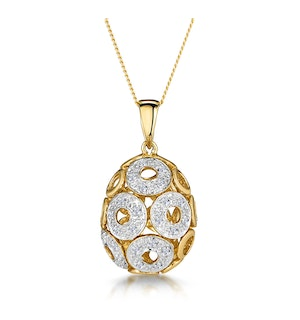 Diamond Pave Circle Design Small Egg Necklace in 9K Gold