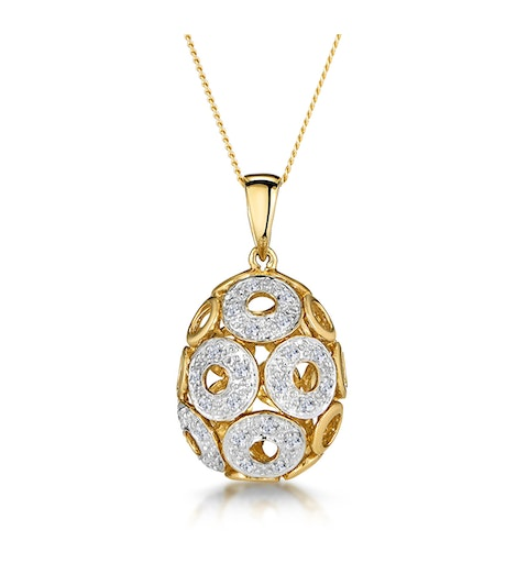 Diamond Pave Circle Design Small Egg Necklace in 9K Gold - image 1