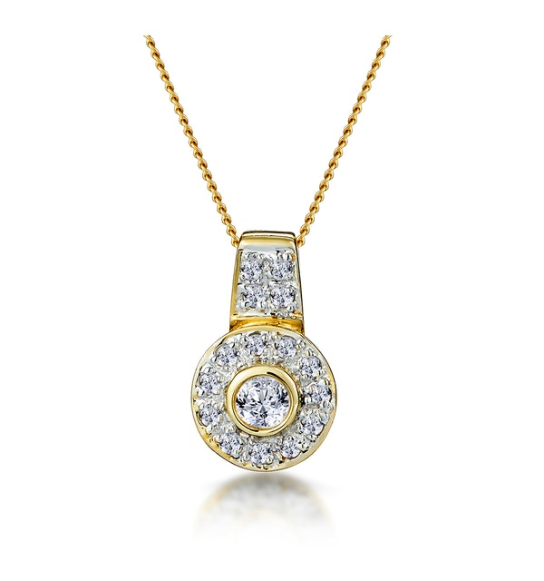 0.22ct Diamond Pave and Centre Inlaid Necklace in 9K Gold - image 1