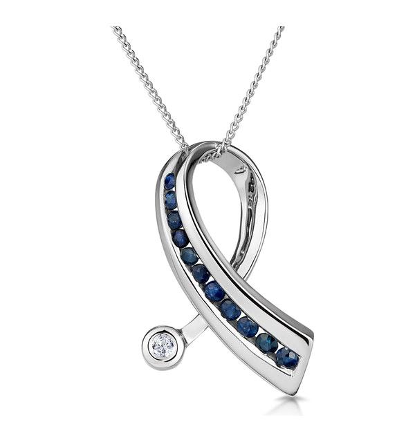 Sapphire And 0.02CT Diamond Ribbon Pendant Necklace 9K White Gold - image 1