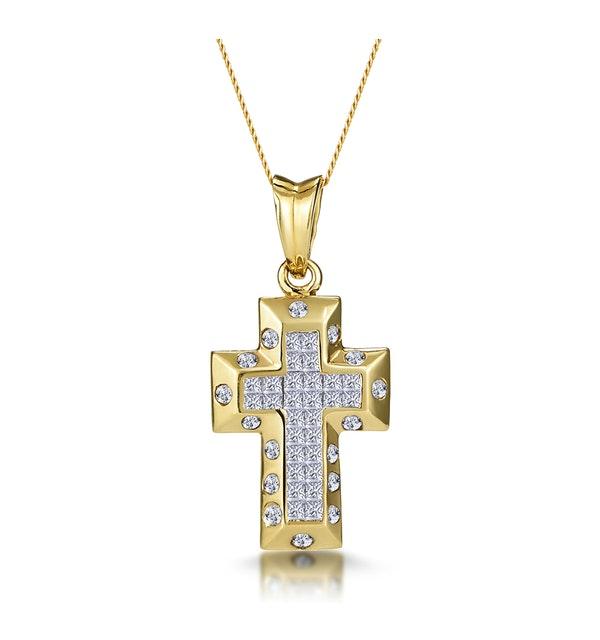 3/4 Carat Diamond Cluster Cross Pendant in 9K Gold - image 1