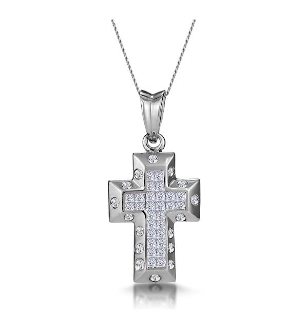 3/4 Carat Diamond Cluster Cross Pendant in 9K White Gold - image 1
