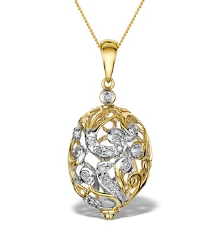Diamond 0.15ct 9K Gold Small Egg Pendant - RTC-G3045