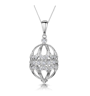 0.22ct Diamond Pave Filigree Small Egg Necklace in 9K White Gold