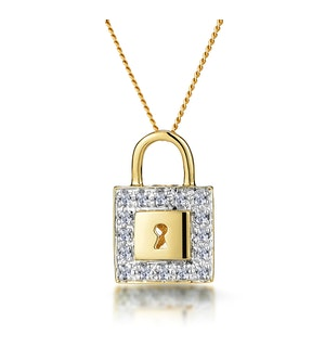 0.13ct Diamond Pave Padlock Necklace in 9K Gold