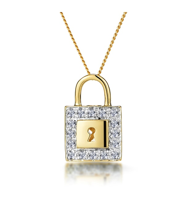 0.13ct Diamond Pave Padlock Necklace in 9K Gold - image 1