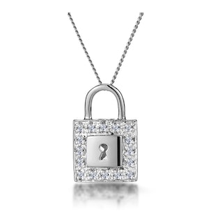 0.13ct Diamond Pave Padlock Necklace in 9K White Gold