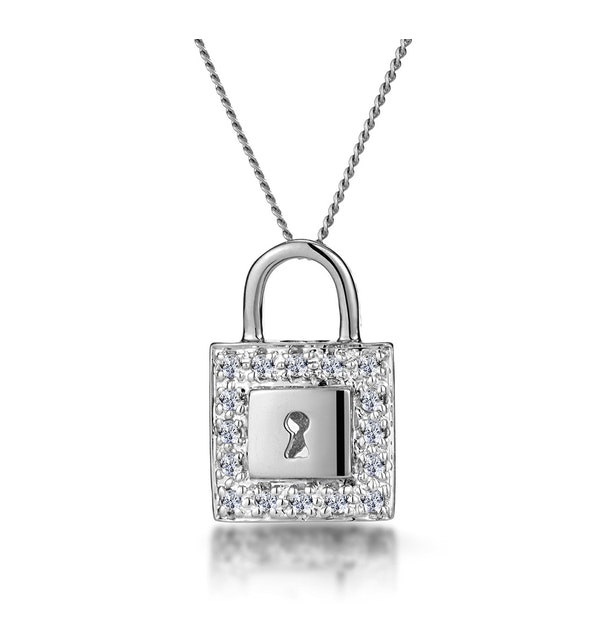 0.13ct Diamond Pave Padlock Necklace in 9K White Gold - image 1