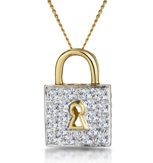 0.33ct Diamond Lock Necklace in 9K Gold