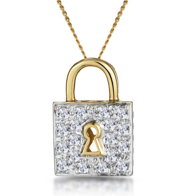 0.33ct Diamond Lock Necklace in 9K Gold - image 1
