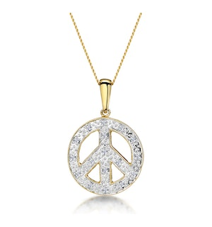 Retro Diamond Pave Peace Sign Necklace in 9K Gold