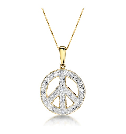 Retro Diamond Pave Peace Sign Necklace in 9K Gold - image 1