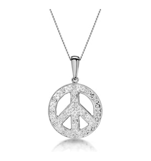 Retro Diamond Pave Peace Sign Necklace in 9K White Gold