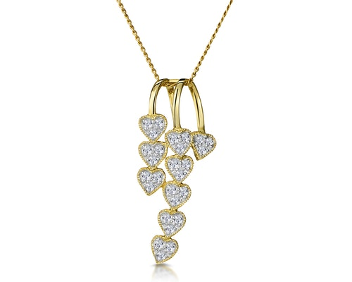 Yellow Gold Diamond Drop Necklaces and Pendants