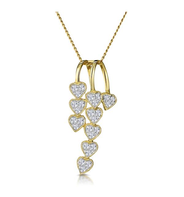 Fancy Pendant Necklace 0.23CT Diamond 9K Yellow Gold - image 1