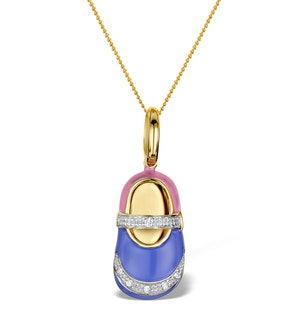 Enamel and Diamond 0.05ct 9K Gold Shoe Pendant - RTC-G3016