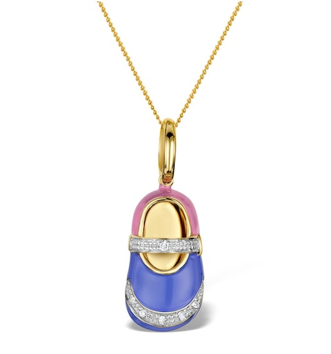 Enamel and Diamond 0.05ct 9K Gold Shoe Pendant - RTC-G3016 - image 1