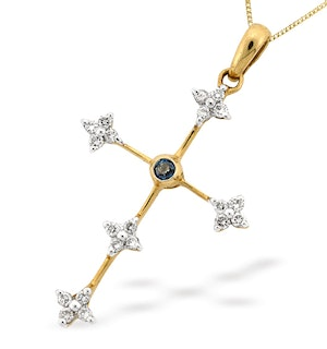 9K Gold Diamond and Sapphire Cross Pendant (D0.20ct S0.05)