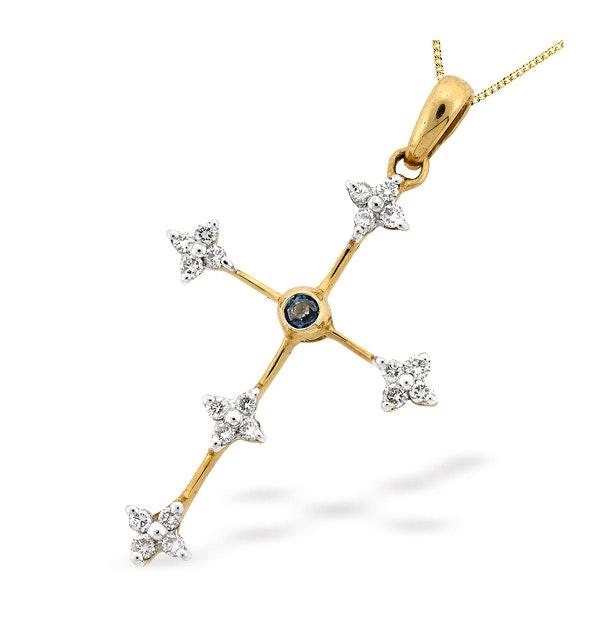 9K Gold Diamond and Sapphire Cross Pendant (D0.20ct S0.05) - image 1