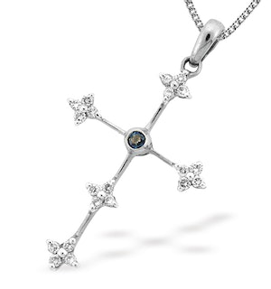 9K White Gold Diamond and Sapphire Cross Pendant (D0.20ct S0.05)