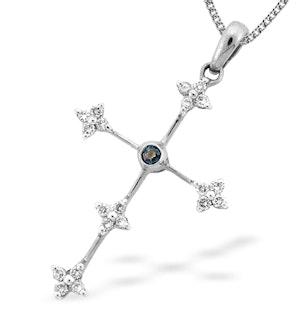9K White Gold Diamond and Sapphire Cross Pendant (D0.20ct S0.05)