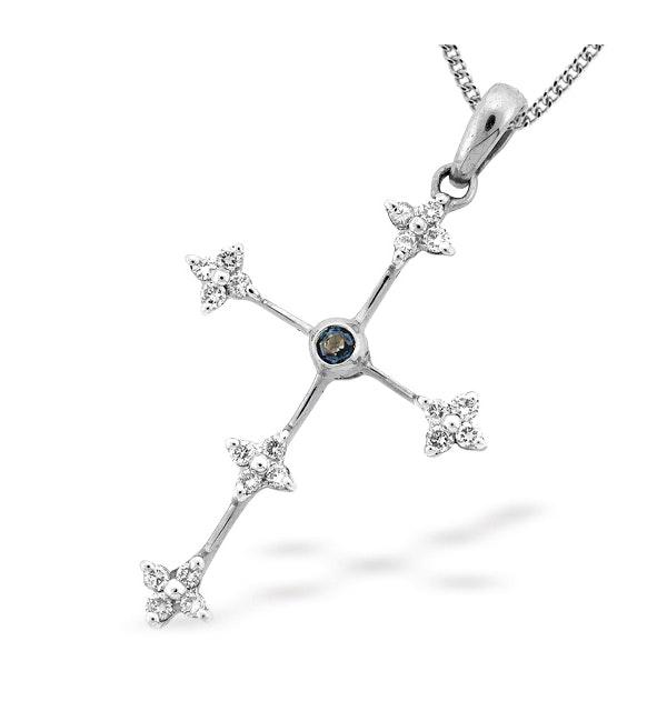 9K White Gold Diamond and Sapphire Cross Pendant (D0.20ct S0.05) - image 1