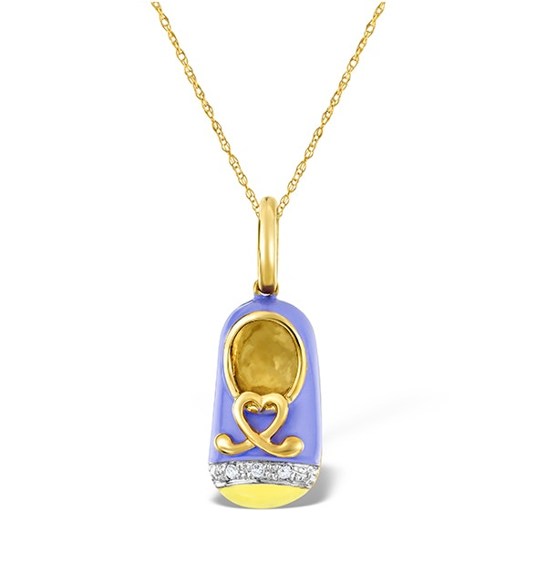 9K Gold and Enamel Shoe Pendant - image 1