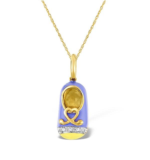 9K Gold and Enamel Shoe Pendant - image 1