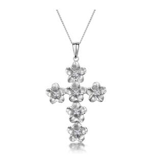 Diamond Flower Cross Necklace in 9K White Gold
