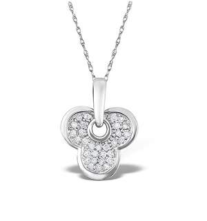 9K White Gold Pave Diamond Clover Leaf Pendant