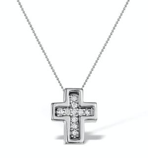 Diamond 0.10ct 9K White Gold Cross Pendant - RTC-G4375Y