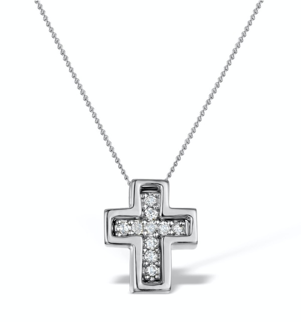 Diamond 0.10ct 9K White Gold Cross Pendant - RTC-G4375Y - image 1
