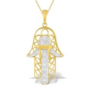 9K Gold Diamond Hamsa Pendant