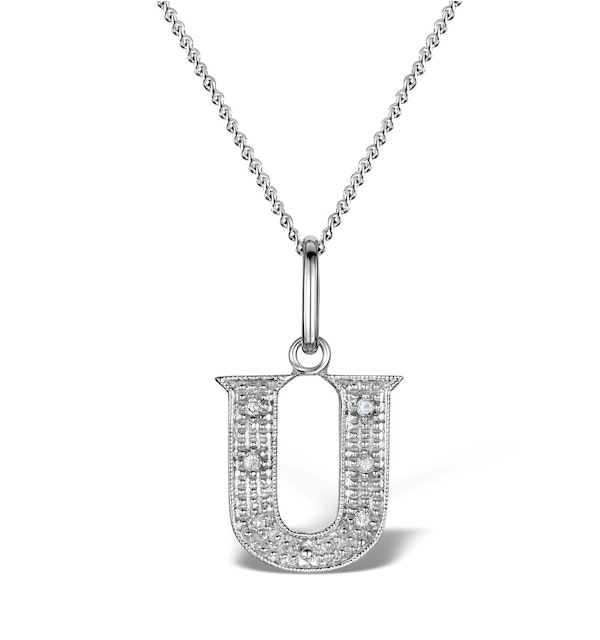 Diamond 0.03ct 9K White Gold Initial Pendant - RTC-G43088W - image 1