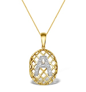 Diamond 0.01ct 9K Gold Initial Pendant - RTC-G4407