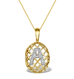 Diamond 0.01ct 9K Gold Initial Pendant - RTC-G4407
