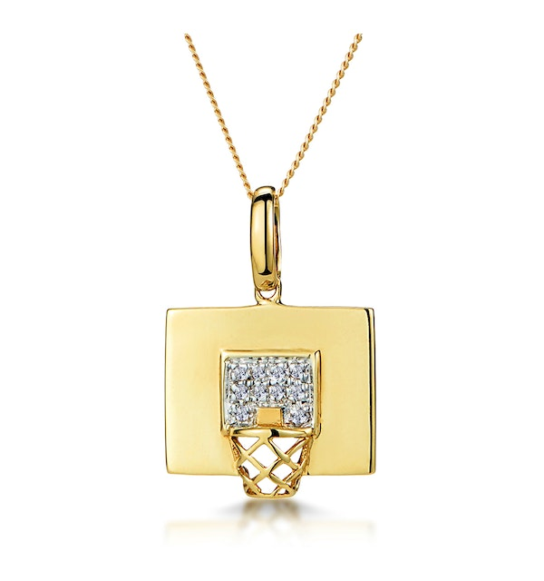 0.02ct Diamond Pave Basketball Hoop Necklace in 9K Gold - image 1